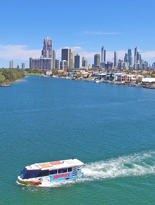 Aquaduck on the water with Surfers Paradise in the background
